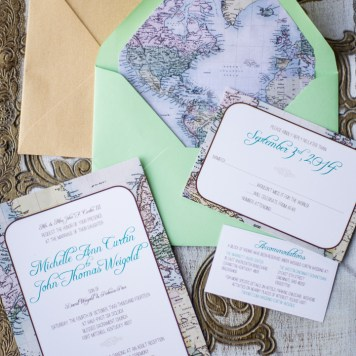 Want a Travel Theme Wedding? Read on to find out how by seeing a real life example- mine! Also, check out these custom made travel theme invitations #travel #weddings