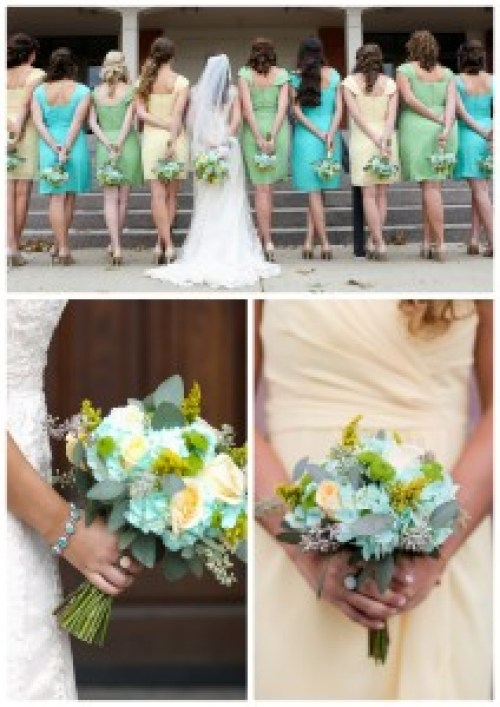 travel theme wedding, real life inspiration, blue green yellow
