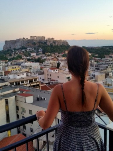 View of the Greek Parthenon from Astor Hotel in Athens