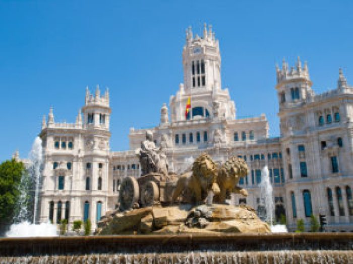 The Palacio de Cibeles in Plaza Cibeles, Madrid, Spain