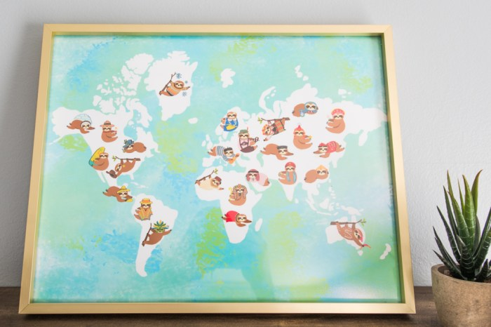 Sloths Around the World Nursery Art