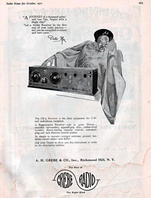 Grebe Radio Ad, CR-9 Receiver, Radio News, October, 1921
