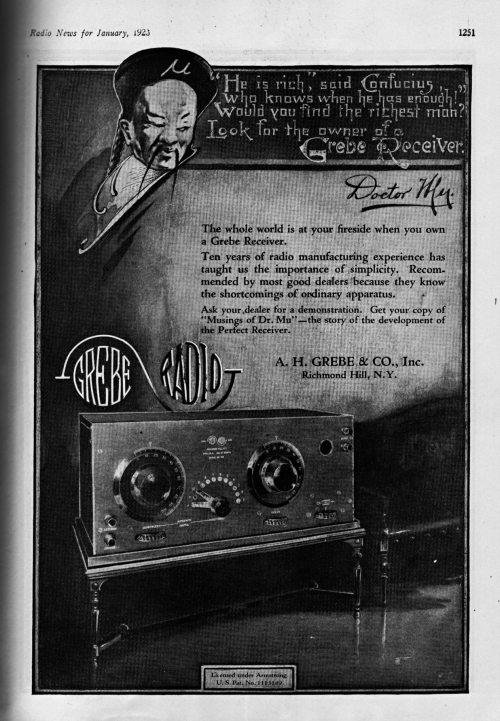 Grebe CR-5 Radio Ad, Radio News, Jan. 1923