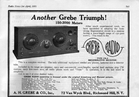 Early Grebe CR-5 Receiver Radio Ad, April, 1921