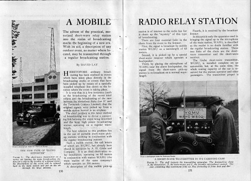 A Mobile Radio Relay Station, Popular Radio, August 1924, pages 130, 131