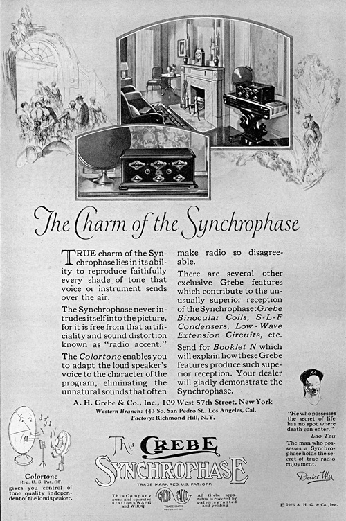 The Charm of the Synchrophase Radio print advertisement