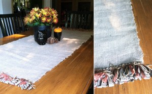 burlap table runner and fall freebie print