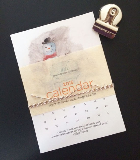 calendar cover with clip