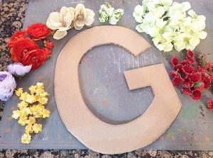 floral initial DIY   valentine's decor