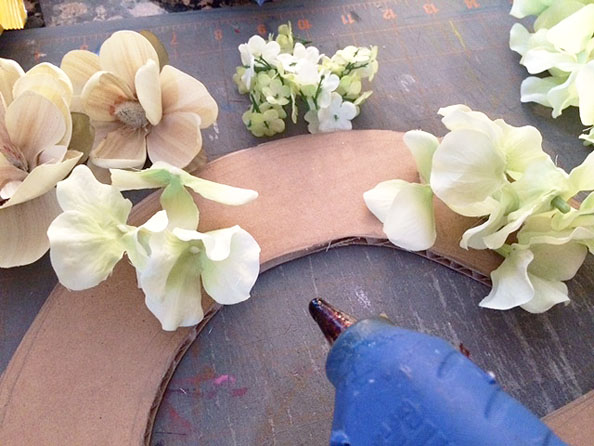 glueing flowers
