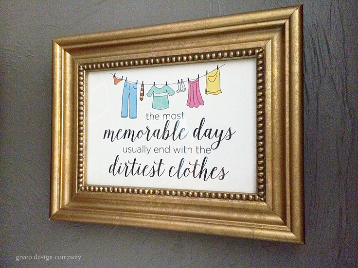 A fun art print great for a laundry room featuring a quote about memorable days and dirty clothes and clothesline graphics.