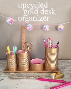upcycled gold desk organizer