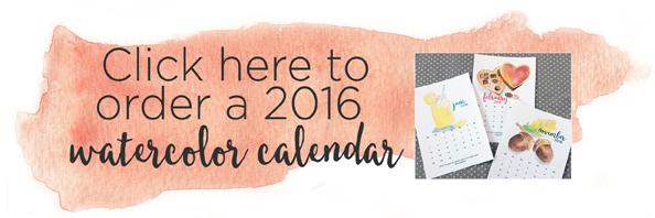 2016 watercolor calendar