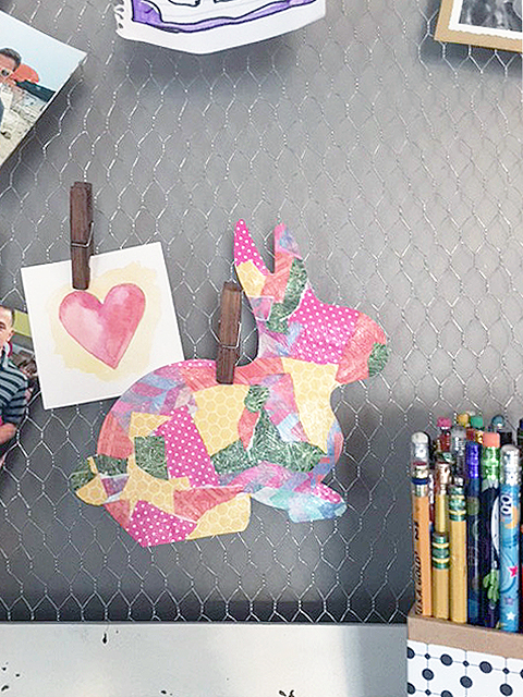 bunny stencil decoupage