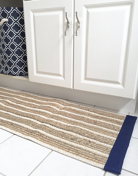 bath mat from table runner detail
