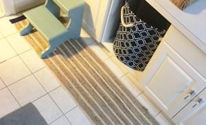 DIY bath mat from a table runner