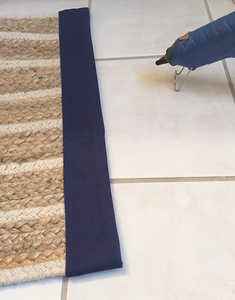 bath mat from table runner ribbon front