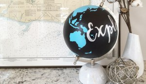 DIY painted globe & how to transfer type