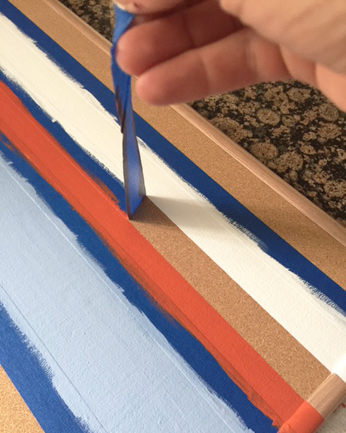 painted cork board_remove tape