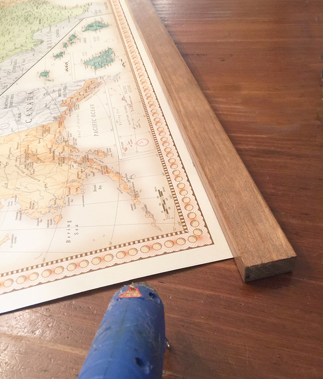 vintage map_attach wood