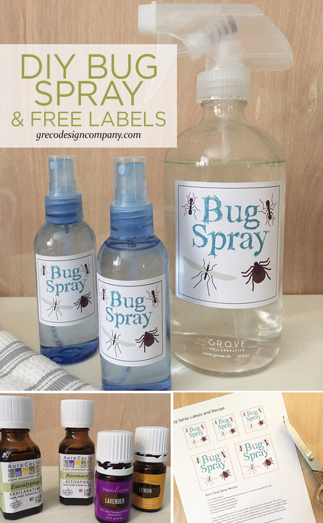 DIY bug spray with free labels