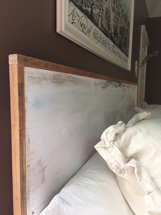 DIY rustic wood headboard