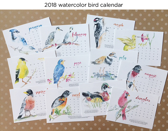 2018 watercolor calendars with a GIVEAWAY