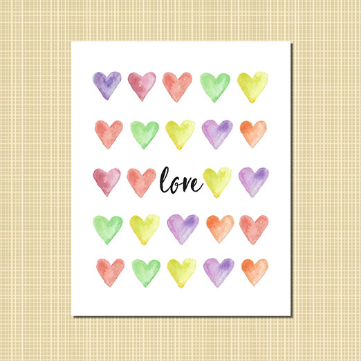 love with watercolor hearts art print
