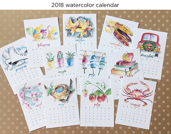 2018 watercolor calendars for sale