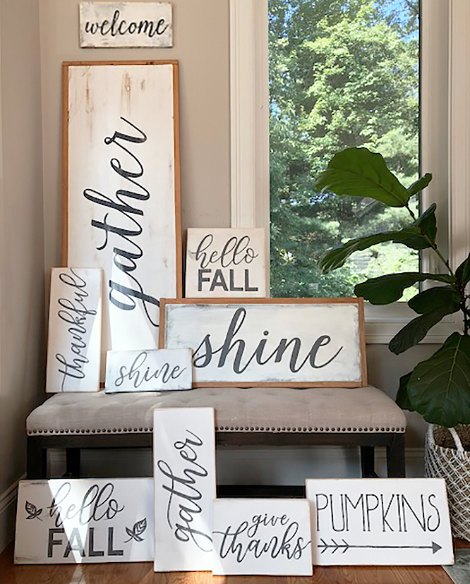hand painted distressed wood signs