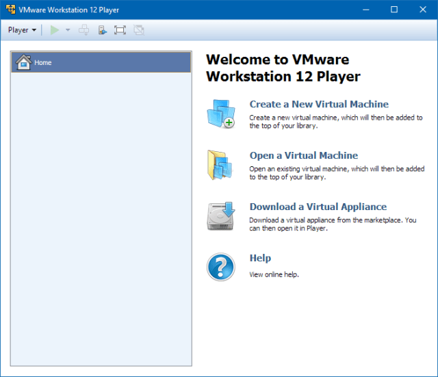 Pannello di gestione VMware Workstation Player