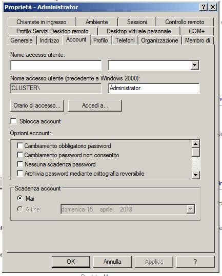 Proprietà utente Active Directory (Screenshot)