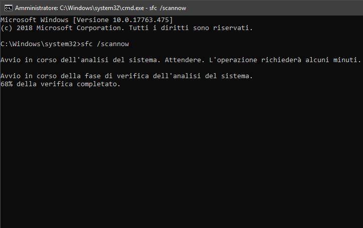 Il comando sfc /scannow in esecuzione