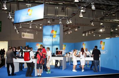 Booth of Microsoft, presenting Windows 7, on the Gamescom 2009, Cologne