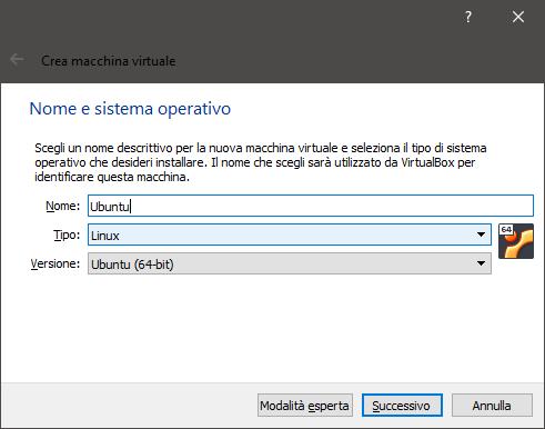 Nome e sistema operativo
