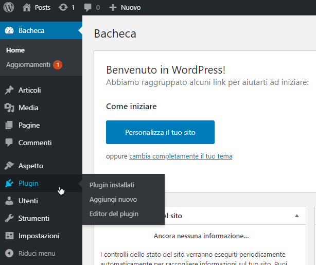 Schermata plugin wordpress