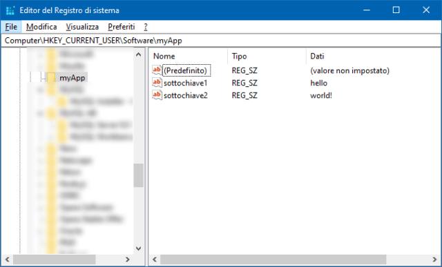 Chiavi create nel registro di sistema in Visual C#