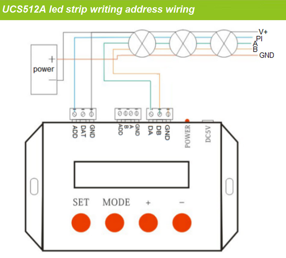 hight resolution of double line dmx512 digital led strip wiring as below