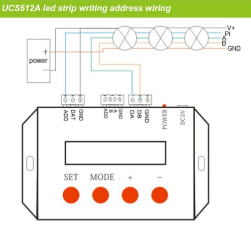 small resolution of double line dmx512 digital led strip wiring as below