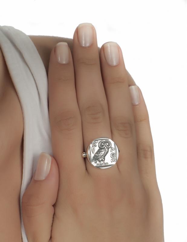 Greek Jewelry Shop Rings 185 Owl Of Wisdom Sterling