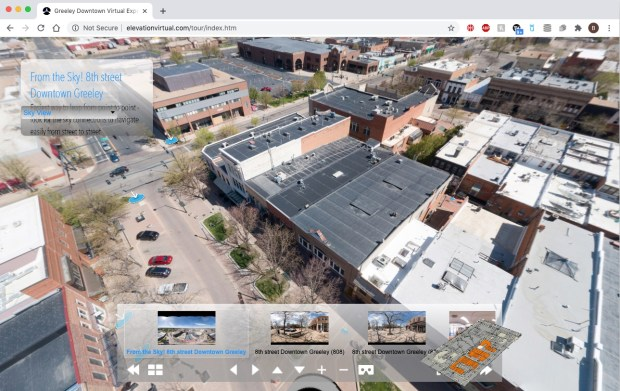An aerial shot of downtown Greeley, part of a panoramic online virtual tour of downtown Greeley, created by Paul Royle-Grimes of Elevation Aerial Photography and Drone Services. (Courtesy of elevationvirtual.com/tour/index.htm)