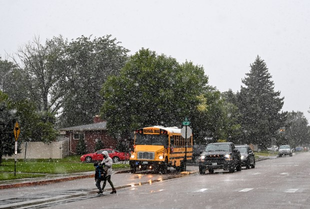 WINDSOR, CO - SEPTEMBER 08:Students begin to arrive at Tozer Elementary School during an unusually early season winter storm in Windsor Sept. 8, 2020. Greeley is under a winter weather advisory until Wednesday at noon according to the National Weather Service. (Alex McIntyre/Staff Photographer)