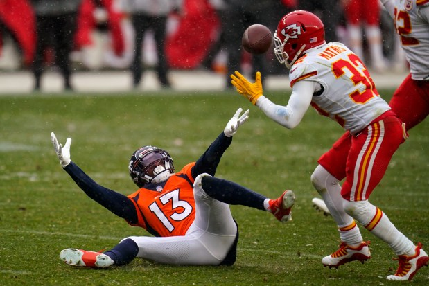 Denver Broncos wide receiver K.J. Hamler ...