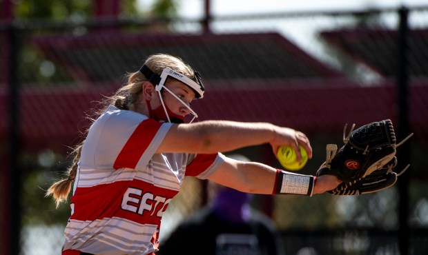 AURORA, CO - OCTOBER 10:Eaton's Sadie Ross (22) pitches during the Class 3A Softball State Championship between the Eaton Reds and the Lutheran Lions at Aurora Sports Park in Aurora Oct. 10, 2020. The Eaton Reds defeated the Lutheran Lions 5-1 to claim the state title. (Alex McIntyre/Staff Photographer)