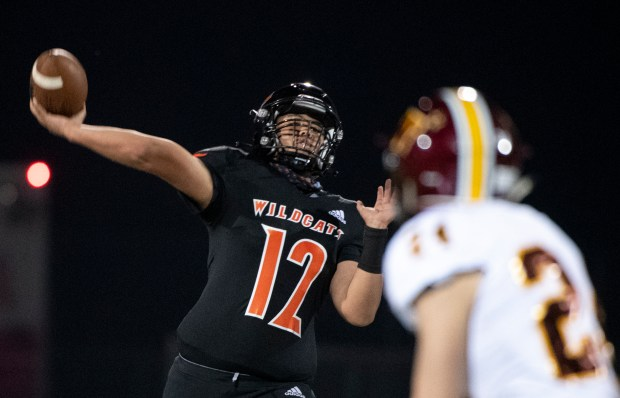 GREELEY, CO - OCTOBER 08:Greeley Central's Michael Flores (12) throws a pass during the Greeley Central Wildcats home opener against the Windsor Wizards at District 6 Stadium in Greeley Oct. 8, 2020. The Wildcats fell to the Wizards 51-8. (Alex McIntyre/Staff Photographer)