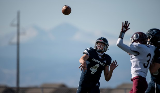 SEVERANCE, CO - OCTOBER 31:Severance's Nolan Hertzke (4) throws a pass during the Severance Silver Knights football game against the Berthoud Spartans at Severance High School in Severance Oct. 31, 2020. The Silver Knights defeated the Spartans 42-6. (Alex McIntyre/Staff Photographer)
