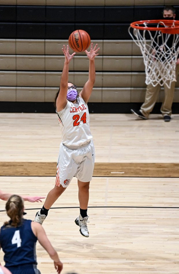 GREELEY, CO - JANUARY 27:Greeley Central's Ariela Rodriguez (24) snags a rebound during the second half of the Greeley Central Wildcats girls basketball game against the University Bulldogs at Greeley Central High School in Greeley Jan. 27, 2021. The Bulldogs defeated the Wildcats 54-42. (Alex McIntyre/Staff Photographer)