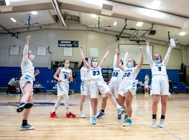 KERSEY, CO - MARCH 03:The Platte Valley Broncos celebrate their overtime win over the Eaton Reds at Platte Valley High School in Kersey March 3, 2021. The Broncos took down the Reds 47-46 in overtime. (Alex McIntyre/Staff Photographer)