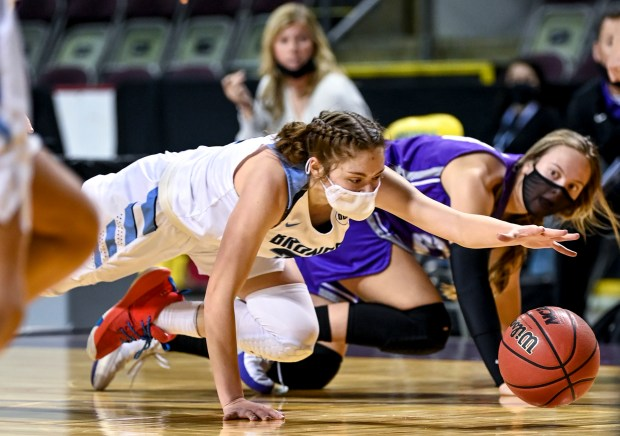 COLORADO SPRINGS, CO - MARCH 20:Platte Valley's Bree Bunting (31) dives after a loose ball during the Platte Valley Broncos 3A state championship girls basketball game against the Lutheran Lions at the Broadmoor World Arena in Colorado Springs March 20, 2021. The Platte Valley Broncos defeated the Lutheran Lions 51-44 to take the 3A state title. (Alex McIntyre/Staff Photographer)