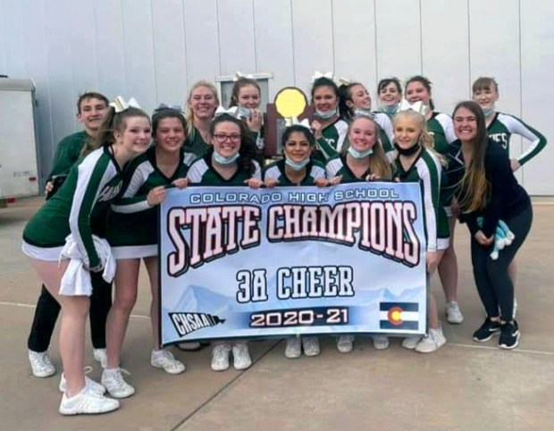 Competing in Class 3A for the first time, Highland walked away with the cheer state title at the state spirit competition on March 25 at The Broadmoor World Arena in Colorado Springs. (Courtesy/Michaela Runnells)